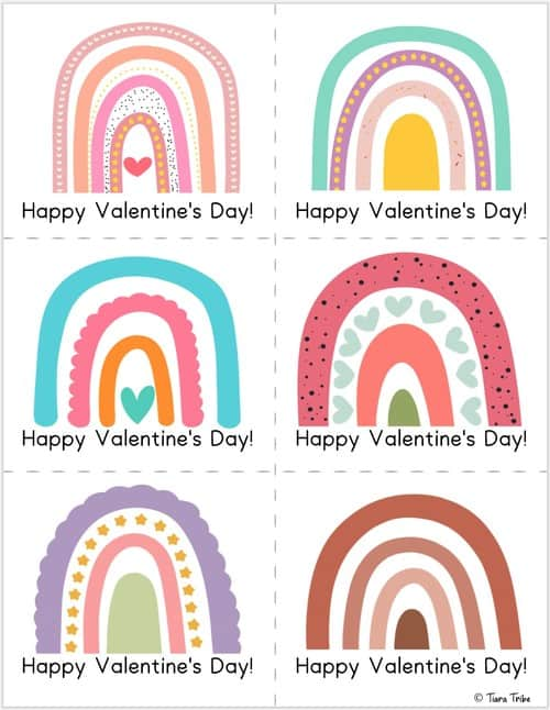 Rainbow valentines cards for kids - Set 3
