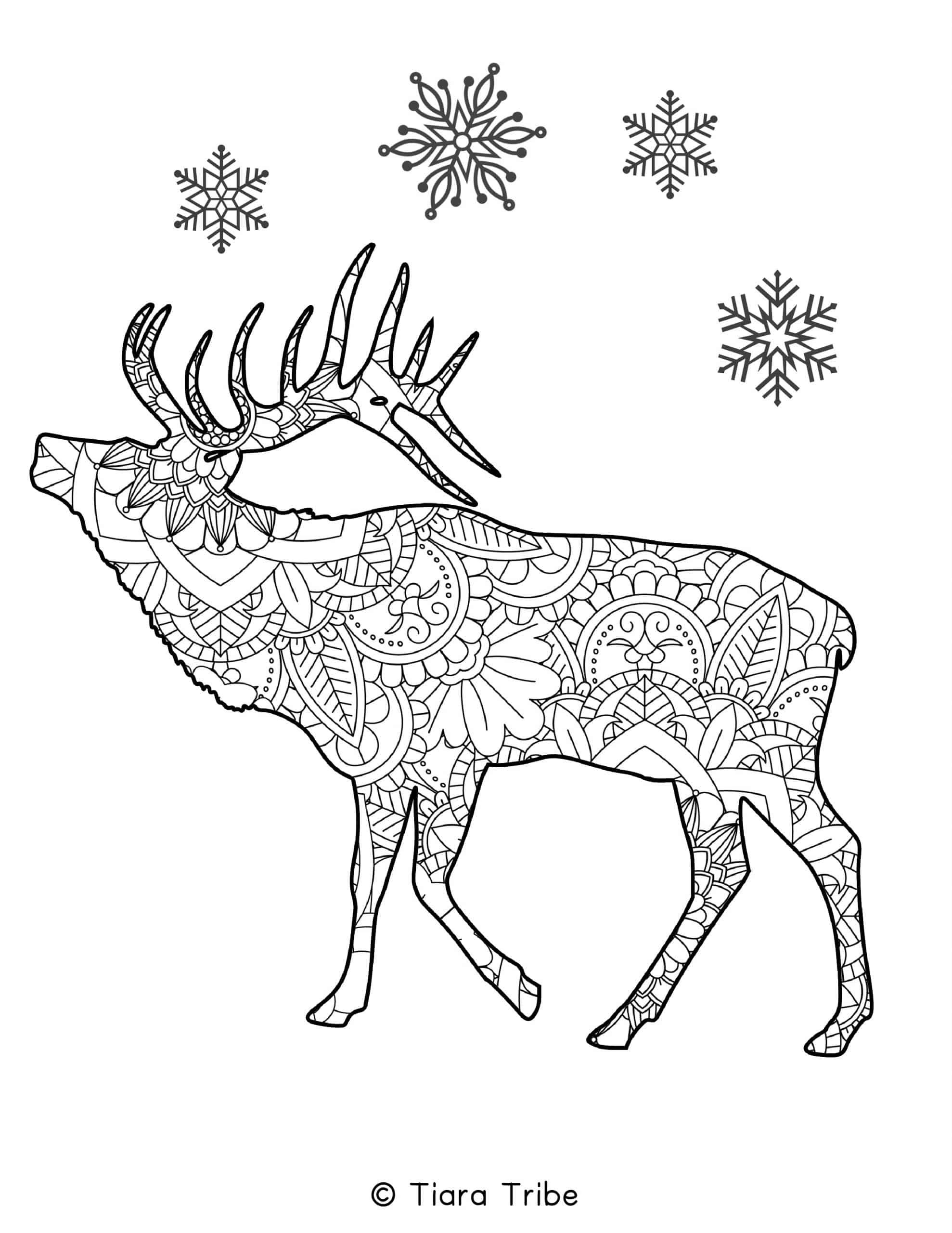 Reindeer and Snowflake Mandala Coloring Page