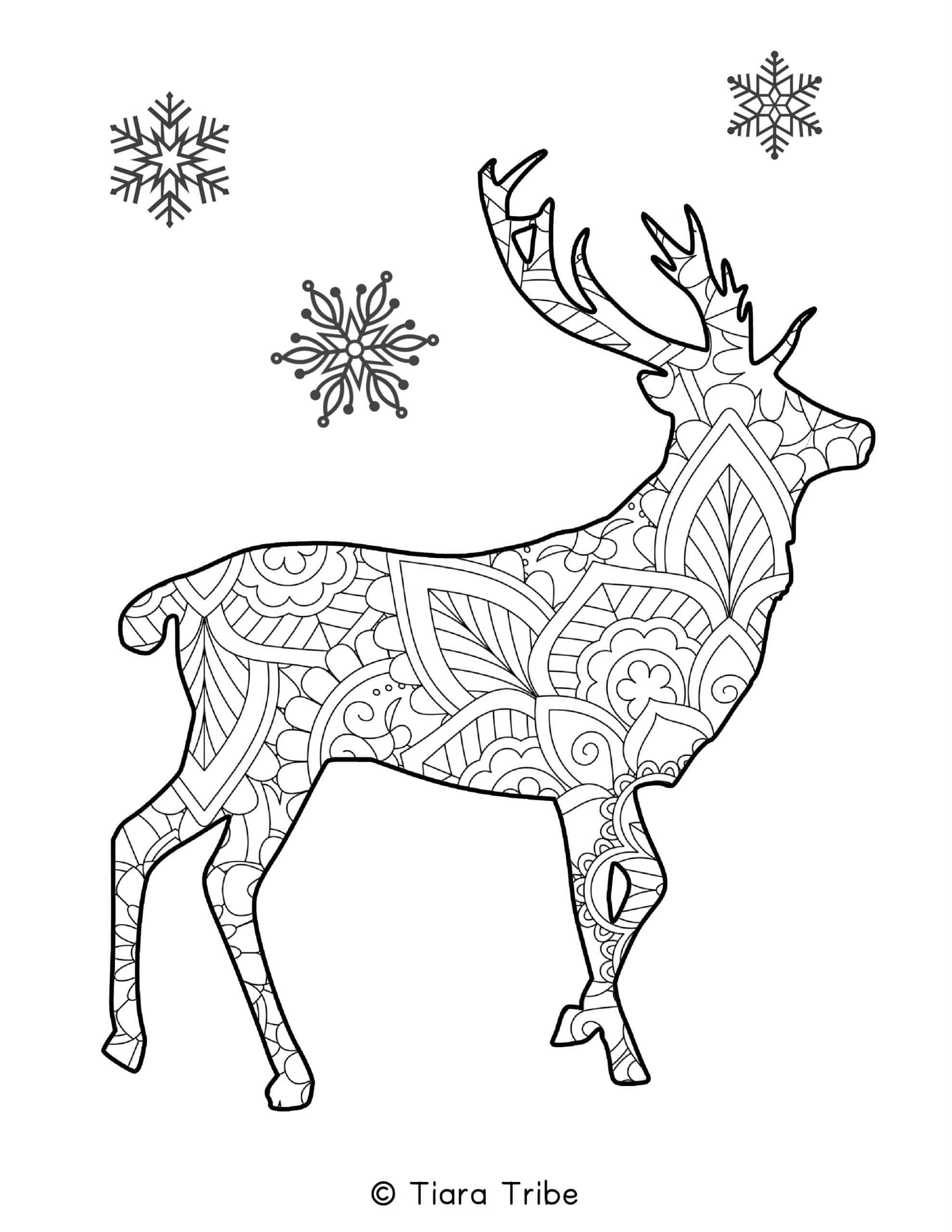 Reindeer Mandala Coloring Page