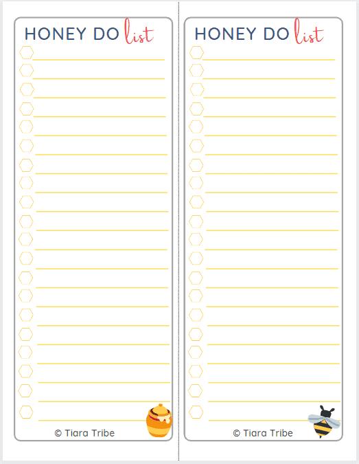 Screenshot honey do list half page A5 size