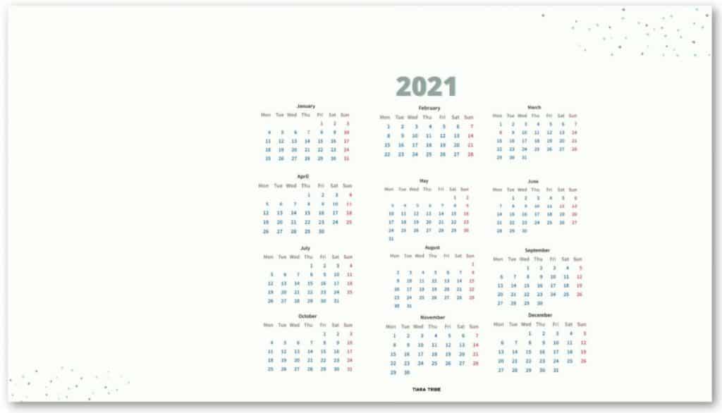 Screenshot of 2021 desktop wallpaper calendar