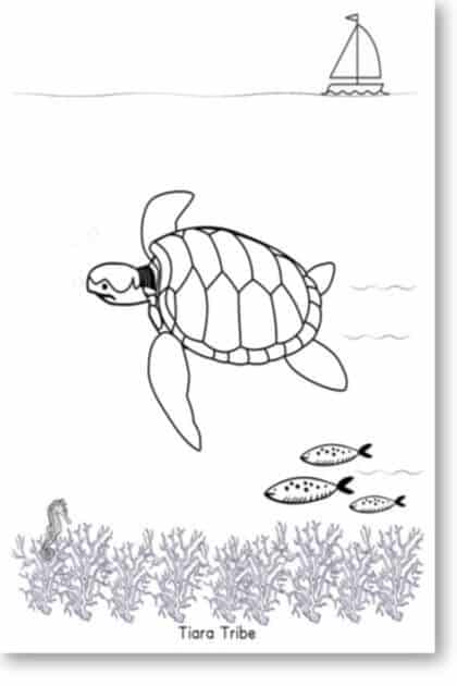 Sea turtle swimming underwater coloring page