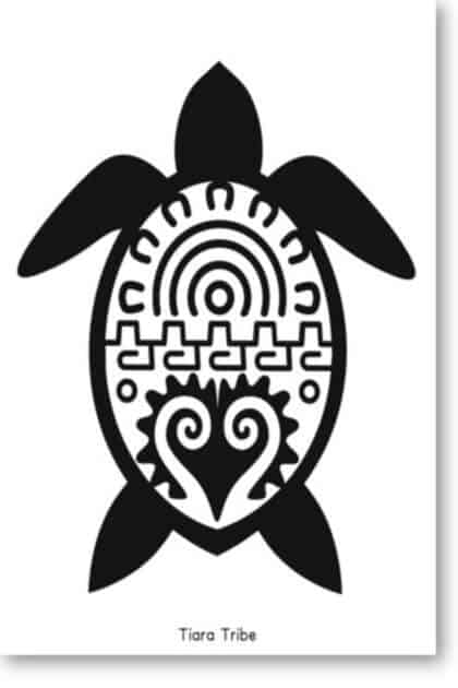 Sea turtle with decorative shell coloring page