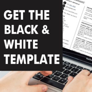 Black and white resume template word