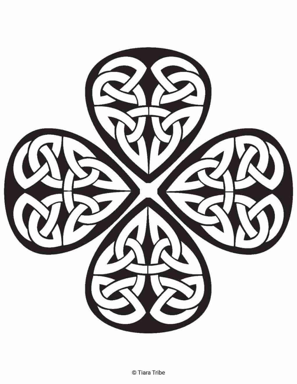 Shamrock Celtic Design Coloring Page