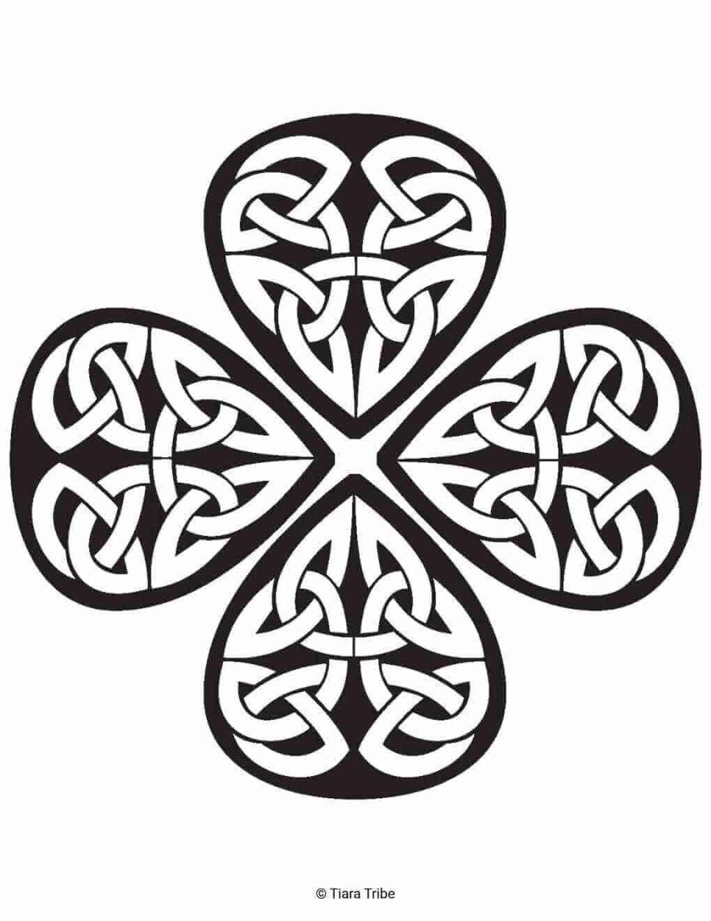 Shamrock Celtic Design Coloring Page