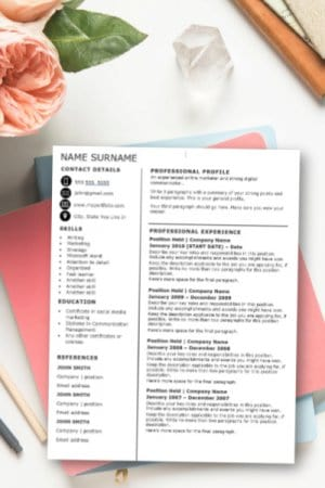 Black and white CV template Word