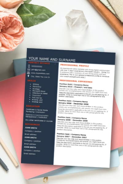 Screenshot of one-page resume template for sale