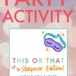 Sleepover party activity