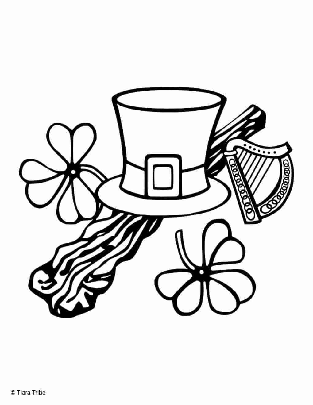 St. Patrick's Day Hat And Harp Coloring Page