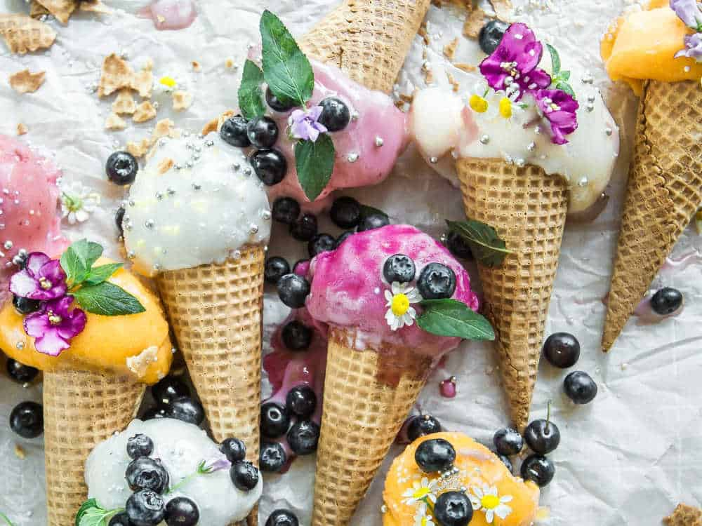 Sweet ice cream on cones