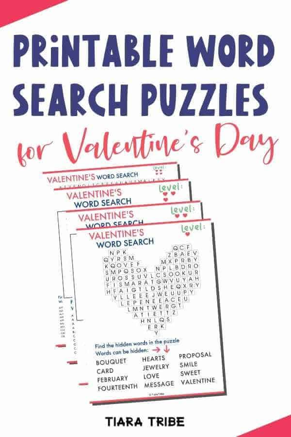 Printable word search puzzles for Valentine's Day