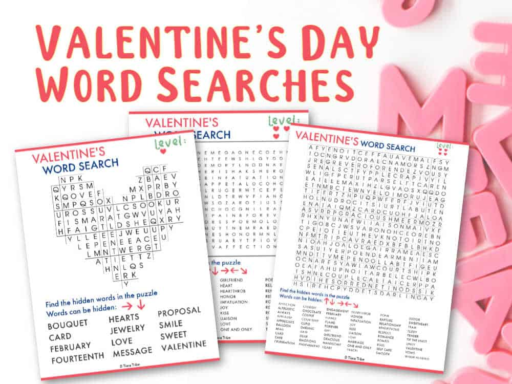 Free Valentine's Day Word Searches: Easy to Difficult