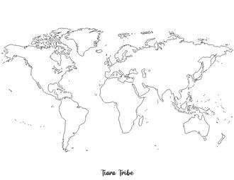 World map with islands – no colors or labels